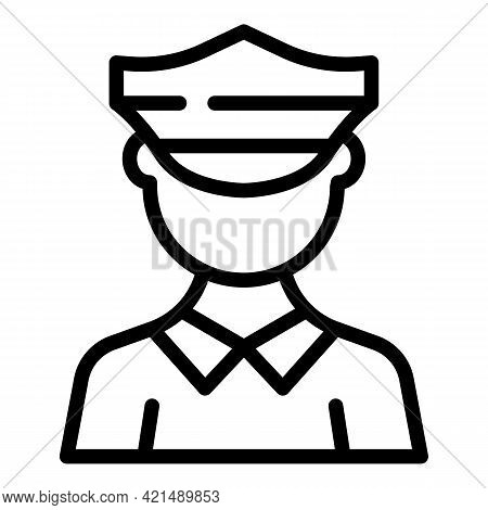 Policeman Icon. Outline Policeman Vector Icon For Web Design Isolated On White Background
