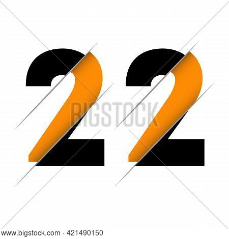 22 2 2 Number Logo Design With A Creative Cut And Black Circle Background. Creative Logo Design.