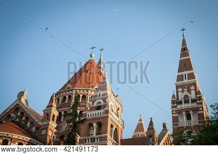 Szeged Cathedral Seen From The Bottom In The End Of Afternoon, In Summer. This Cathedral (szegedi Do
