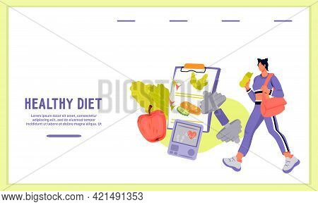 Website Banner Template On Healthy Diet And Weight Loss Concept. Sport Activity And Diet Nutrition P