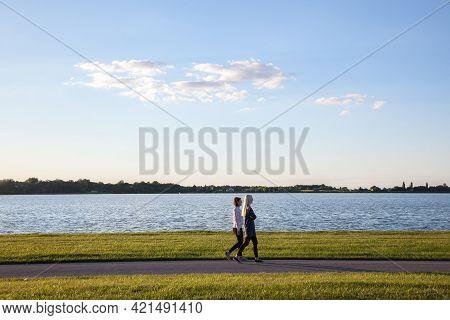 Palic, Serbia - July 13, 2017: Panorama Of Palic Lake, Or Palicko Jezero, In Summer, At Sunset, With