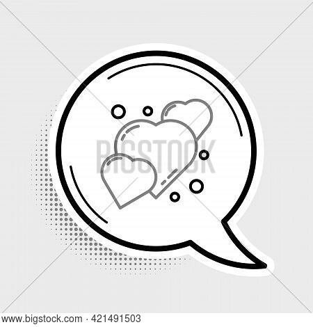 Line Heart Icon Isolated On Grey Background. Romantic Symbol Linked, Join, Passion And Wedding. 8 Ma