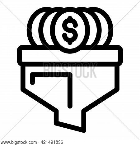 Funnel Money Icon. Outline Funnel Money Vector Icon For Web Design Isolated On White Background