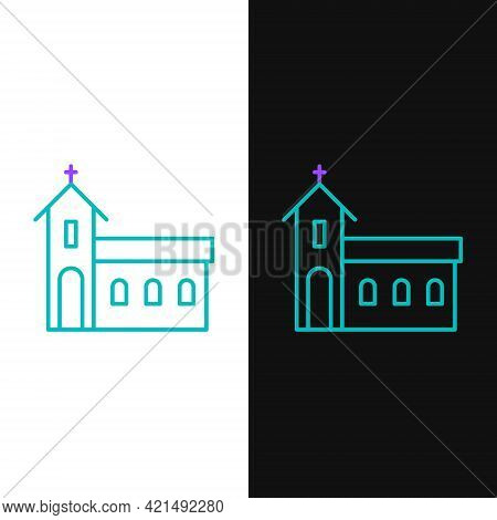 Line Church Building Icon Isolated On White And Black Background. Christian Church. Religion Of Chur