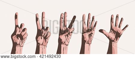 Counting Fingers On Gray Background. Vector Set Of Hands With Counts On The Fingers From One To Five