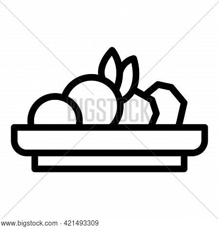 Lunch Plate Icon. Outline Lunch Plate Vector Icon For Web Design Isolated On White Background