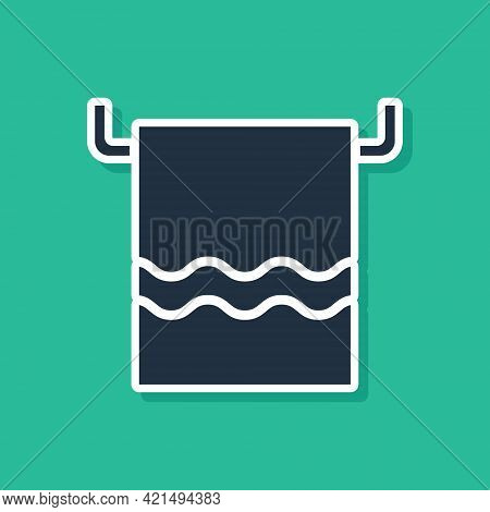 Blue Towel On A Hanger Icon Isolated On Green Background. Bathroom Towel Icon. Vector Illustration