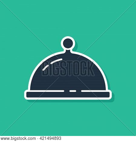Blue Covered With A Tray Of Food Icon Isolated On Green Background. Tray And Lid. Restaurant Cloche