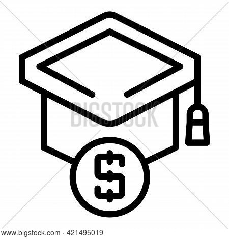 Paid Education Icon. Outline Paid Education Vector Icon For Web Design Isolated On White Background