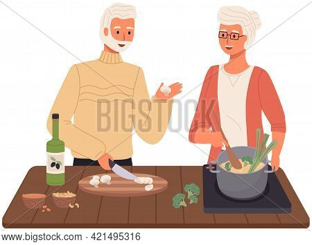 Proper Nutrition, Healthy Lifestyle And Vegetarianism Concept. Elderly Couple Is Preparing Soup With