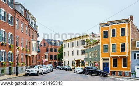 Boston, MA, September 28, 2020: Charlestown - a historic neighborhood of Boston, a part of the Freedom Trail