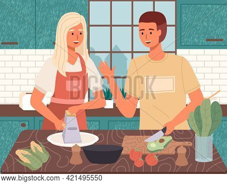 Couple Preparing Salad. Proper Nutrition, Healthy Lifestyle And Vegetarianism Concept. Man And Woman