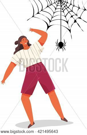 Woman With Scared Expression And Her Hand In Defenses Position. Scared Lady Near Huge Web. Female Ch