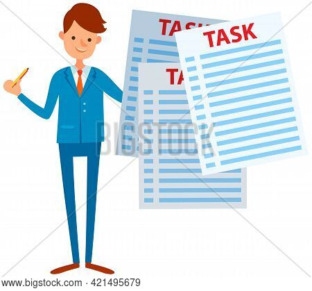 Businessman Trying To Stay Calm With Tasks On Paper Sheets. Male Character Planning His Schedule To