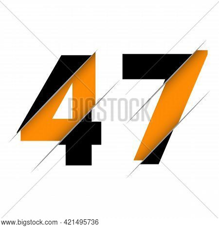 47 4 7 Number Logo Design With A Creative Cut And Black Circle Background. Creative Logo Design.