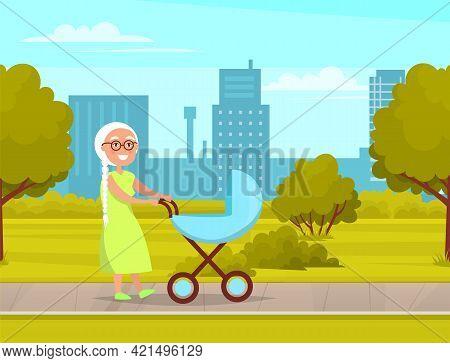 Grandmother Strolling In City Park With Baby Stroller. Woman Rolls Stroller With Newborn. Elderly La