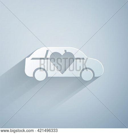 Paper Cut Luxury Limousine Car Icon Isolated On Grey Background. For World Premiere Celebrities And