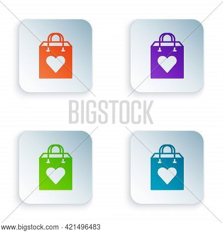 Color Shopping Bag With Heart Icon Isolated On White Background. Shopping Bag Shop Love Like Heart I