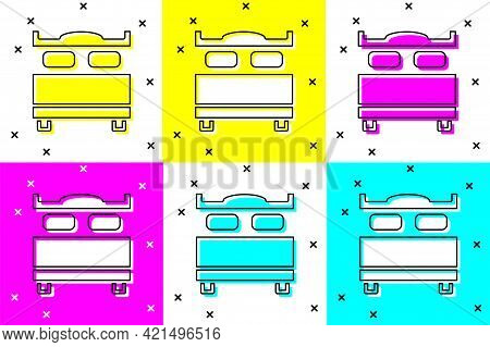 Set Bedroom Icon Isolated On Color Background. Wedding, Love, Marriage Symbol. Bedroom Creative Icon