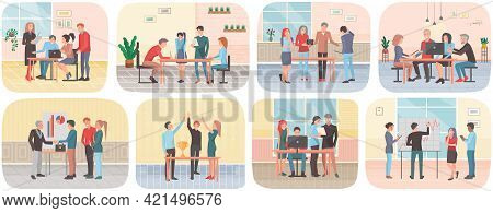 Business Characters Working In Office Workplace Flat Design. Co Working People, Meeting Teamwork, Co