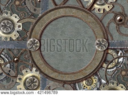 Grunge background in steampunk style. Texture of old metal with rivets, cogwheel and rusty frame. Mock up tempalte. Copy space for your text