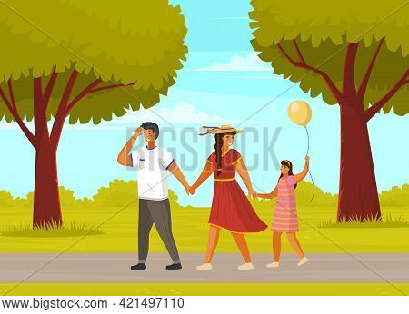 Happy Family Father, Mother And Daughter With Balloon Walking Outdoors Together Summer Day In City P
