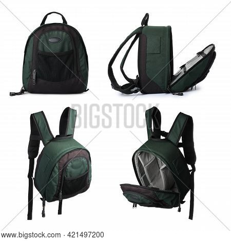 Set With Backpacks For Camera On White. Professional  Photographer's Accessory