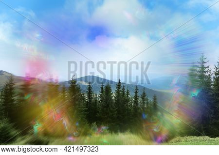 View Of Mountain Forest And Flashing Lights Effect. Migraine Aura, Symptom Of Disease