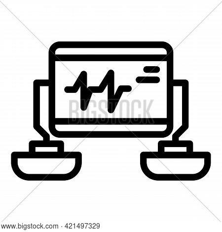 Cardiology Defibrillator Icon. Outline Cardiology Defibrillator Vector Icon For Web Design Isolated