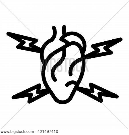 Heart Attack Icon. Outline Heart Attack Vector Icon For Web Design Isolated On White Background
