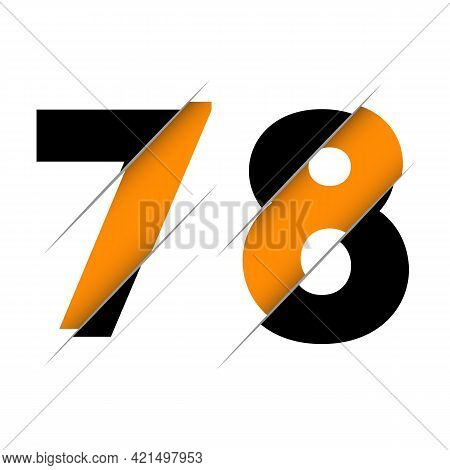 78 7 8 Number Logo Design With A Creative Cut And Black Circle Background. Creative Logo Design.