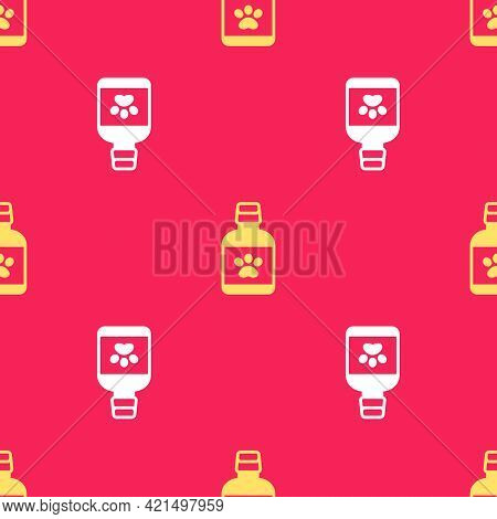 Yellow Dog Medicine Bottle Icon Isolated Seamless Pattern On Red Background. Container With Pills. P