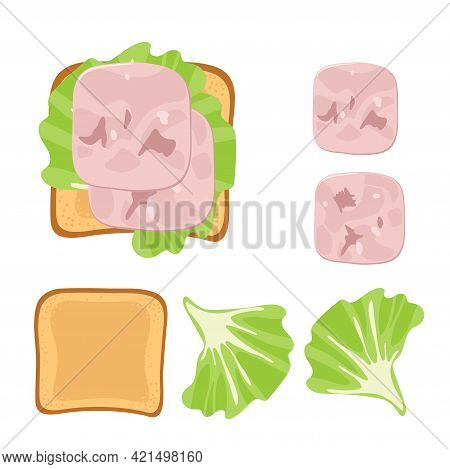Sandwich Ingredients. Sandwich With Lettuce Leaf, Ham Slices. Overhead View Of Isolated Meat Delicat