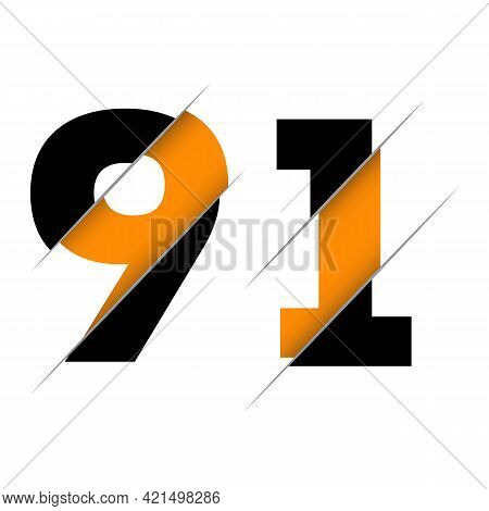 91 9 1 Number Logo Design With A Creative Cut And Black Circle Background. Creative Logo Design.