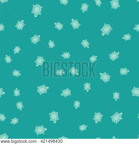 Green Turtle Icon Isolated Seamless Pattern On Green Background. Vector