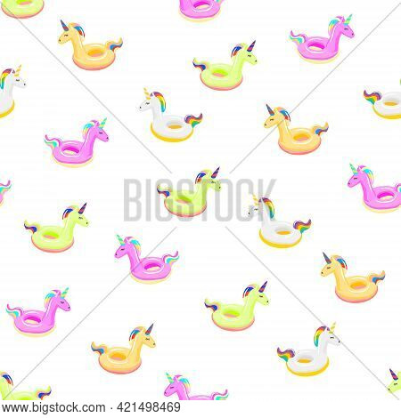 Seamless Pattern With Colored Unicorn Inflatable. Pool Float. Inflatable Colorful Unicorn. Swimming