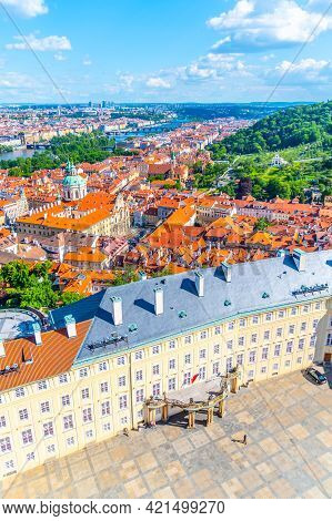 Aerial View Of Third Courtyard Of Prague Castle, Czech: Prazsky Hrad, With Lesset Town Quarter Panor