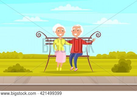 Elderly Couple Spend Time In Park Sitting On Bench. Romance Of Aged People On Date. Characters In Ha