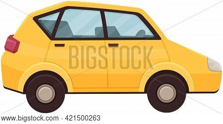 Yellow Car Without Driver. Hatchback, Smart, Passenger Car. Automobile With Clear Glass For Trips. T