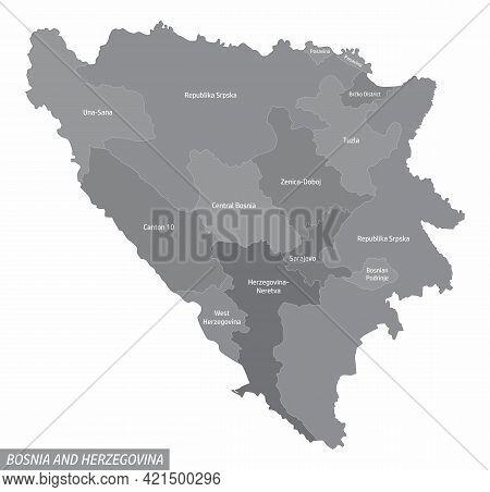 Bosnia And Herzegovina Administrative Map Isolated On White Background