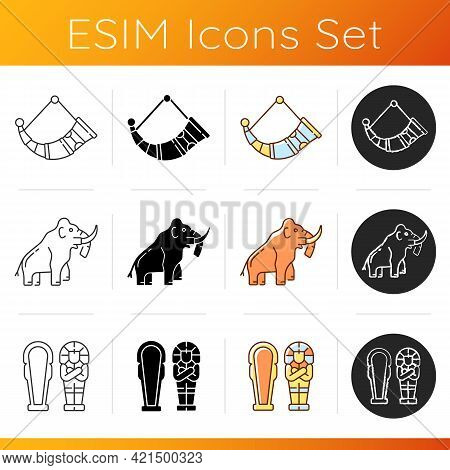 Archaeological Excavation Icons Set. Drinking Horns. Mammoth. Egyptian Sarcophagus. Hand-crafted Med