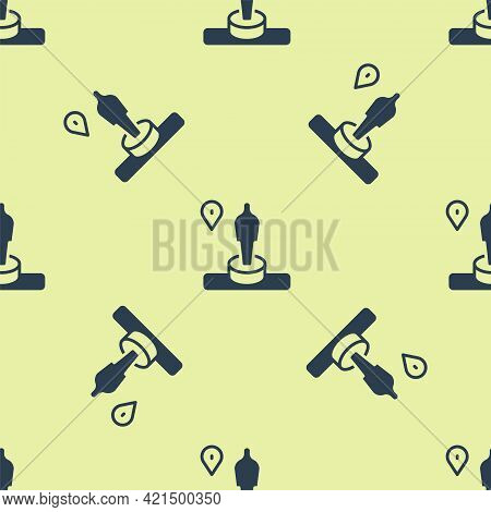 Blue Map Pin And Monument Icon Isolated Seamless Pattern On Yellow Background. Navigation, Pointer,