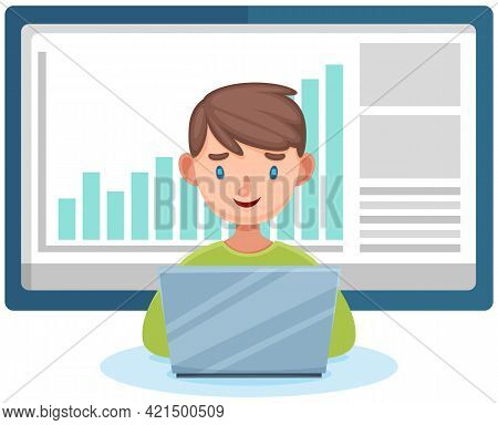 Boy Sitting With Laptop Serfing Internet Analyzes Statistics On Chart, Typing On Keyboard, Writing M