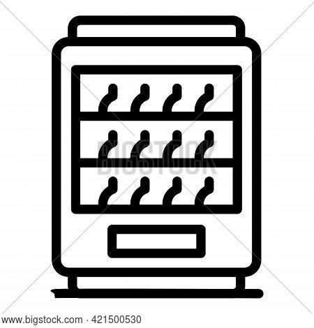 Drinks Fridge Icon. Outline Drinks Fridge Vector Icon For Web Design Isolated On White Background