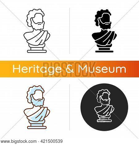 Ancient Statue Icon. Art History. Ancient Greek Sculpture. Depicting Realistic Human Form. Sculpted