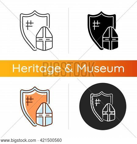 Knight Armor Icon. Medieval Knight Suit. Middle Ages. Helmet, Shield. Jousting. Plate Armour. Enhanc