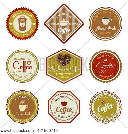 Coffee Premium Quality Natural Product Smooth Taste Always Fresh Labels Set Isolated Vector Illustra