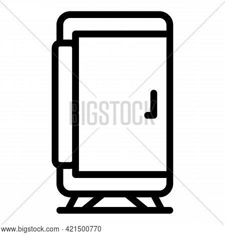 Beverage Fridge Icon. Outline Beverage Fridge Vector Icon For Web Design Isolated On White Backgroun