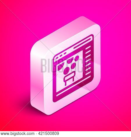 Isometric Chemical Experiment Online Icon Isolated On Pink Background. Scientific Experiment In The
