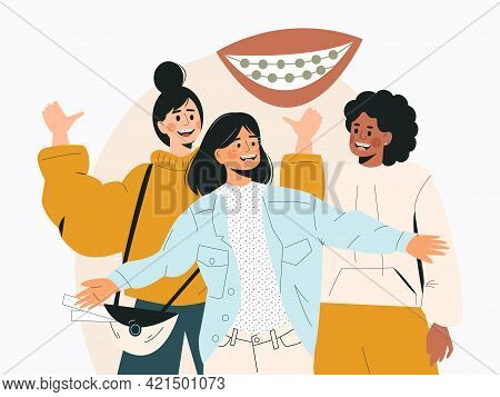 Dental Braces Concept Vector Illustration With Female Characters. Girls With Braces On Teeth. Divers